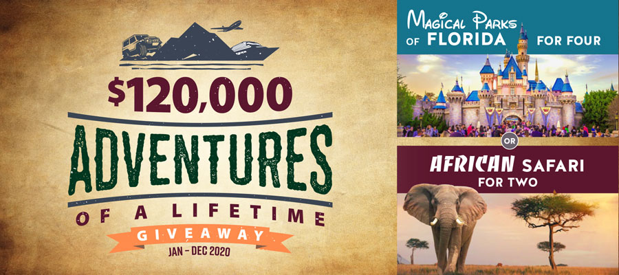 $120,000 Adventures of a Lifetime Giveaway